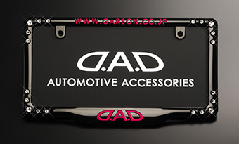 D.A.D CRYSTAL LICENSE FRAME FRONT MODEL【BLACK/PINK】